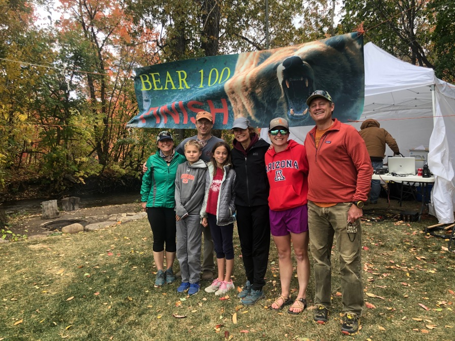 Becky and her support crew (including TRaIL OG Alexis Ault in the Arizona sweatshirt) after finishing the Bear 100 Endurance Run.